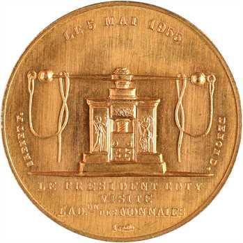 IVe République, module de 20 francs, visite de René Coty à la Monnaie, par Delannoy, 1955 Paris