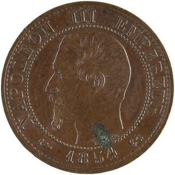 Second Empire, un centime tête nue, 1854 Rouen