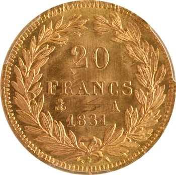 Louis-Philippe Ier, 20 francs Tiolier, tranche en creux, 1831 Paris, PCGS MS66