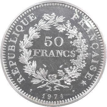 Ve République, piéfort de 50 francs Hercule, 1974 Pessac