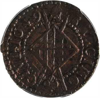 Catalogne, Louis XIV, sizain, 1649 Barcelone, PCGS AU58