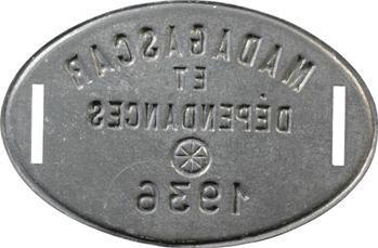 Madagascar, plaque de taxe, 1936