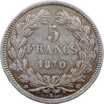Gvt de Défense nationale, 5 francs Cérès sans légende, 1870 Bordeaux