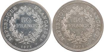 Ve République, 50 francs Hercule avers du 20 francs, 1974 Paris, joint 50 francs Hercule 1974 Pessac
