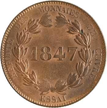 Louis-Philippe Ier, essai de 5 centimes, refonte des monnaies de cuivre, 1847 Paris