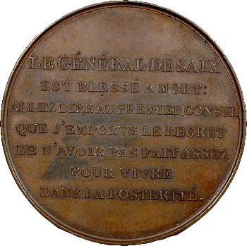 Consulat, bataille de Marengo, mort du général Desaix, An 8 Paris