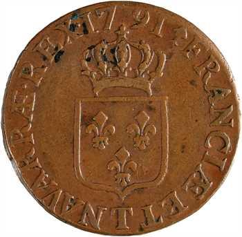 Louis XVI, demi-sol de bronze, 1791, 2d semestre, Nantes