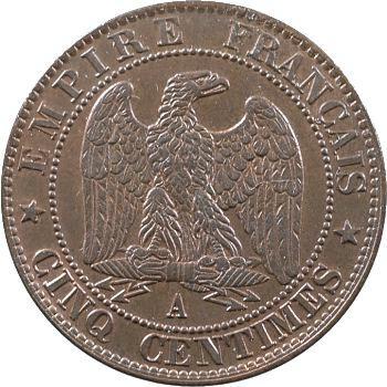 Second Empire, cinq centimes tête nue, 1856 Paris