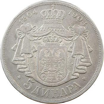 Yougoslavie, Serbie, Pierre Ier, 5 dinara, 1904 Vienne