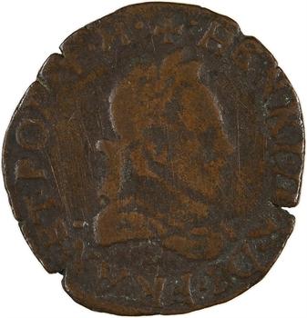Henri III, double tournois 2e type, 1587 Dijon