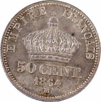 Second Empire, 50 centimes tête laurée, 1864 Strasbourg