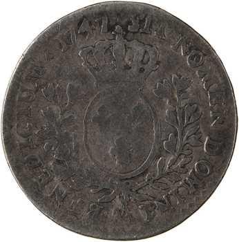 Louis XV, dixième d'écu au bandeau, 1747 Metz
