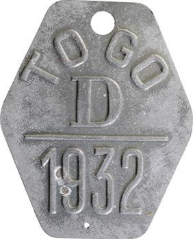 Togo, plaque de taxe, D, 1932