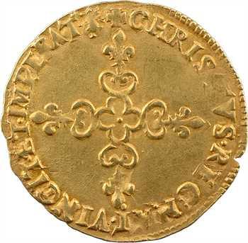 Charles X, écu d'or au soleil, 1591 Troyes