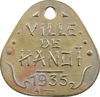 Indochine, Tonkin, Hanoï, plaque de taxe n° 2933, 1935