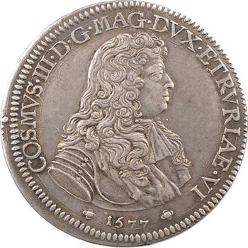 Italie, Toscane (Grand-duché de), Cosme III, piastre, 1677 Florence variété de différents