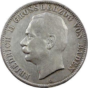 Allemagne, Bade (Grand-duché de), Frédéric II, 5 mark, 1913 Karlsruhe