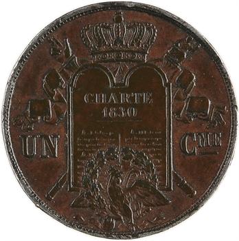Louis-Philippe Ier, essai hybride de un centime à la charte, s.d. Paris