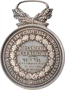 Second Empire, caisse de compensation de la boulangerie de la banlieue, attribuée, en argent, 1859 Paris