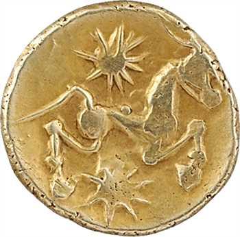 Bellovaques, quart de statère à l'astre et au cheval à droite, c.80-50 av. J.-C