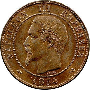 Second Empire, dix centimes tête nue, 1854 Rouen