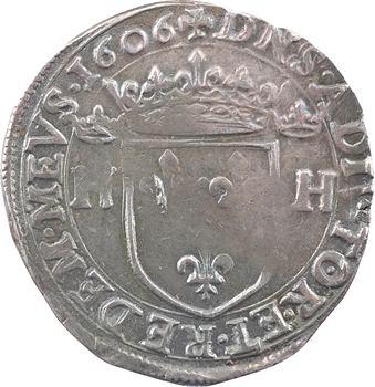 Dombes (principauté de), Henri II de Bourbon, teston, 1606 Trévoux