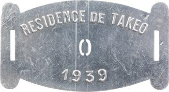 Indochine, Cambodge, Takeo (Résidence de), plaque de taxe n° 0, 1939