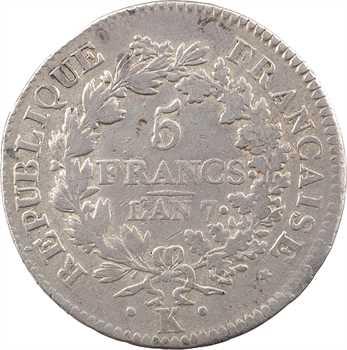 Directoire, 5 francs Union et Force [UNION serré, petite feuille, sans glands intérieurs], An 7 Bordeaux