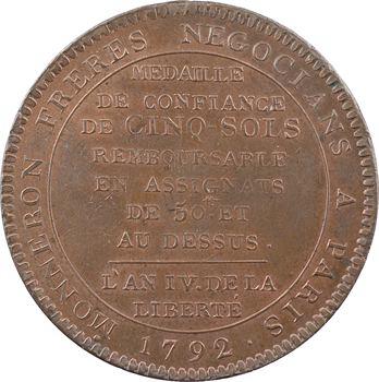 Constitution, cinq sols de Monneron au serment, tranche fautée RUONE, An IV, 1792 Birmingham