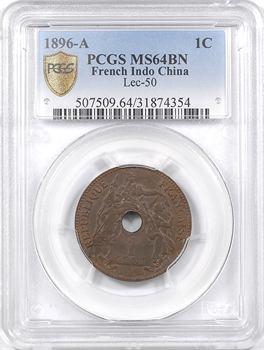 Indochine, 1 centième, 1896 Paris, PCGS MS64BN