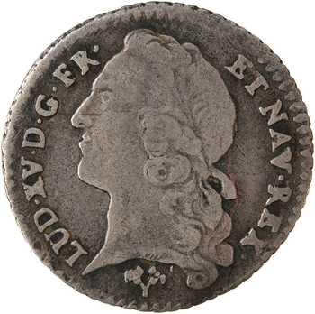Louis XV, vingtième d'écu au bandeau, 1744 Poitiers