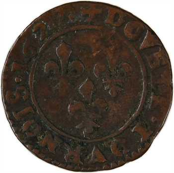 Louis XIII, double tournois 8e type, 1627 Villeneuve-lès-Avignon