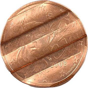 Euro, France, 2 centimes double avers pilonnée, 2008 Pessac