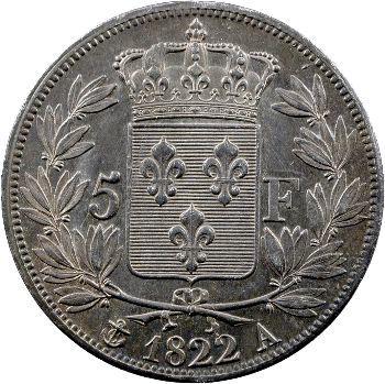 Louis XVIII, 5 francs buste nu, 1822 Paris