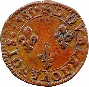 Henri III, double tournois, 1585 Tours