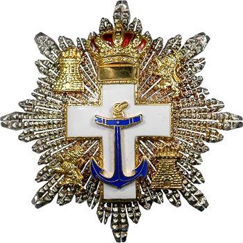 Espagne, plaque de l'Ordre du Mérite Naval, avec deux réductions