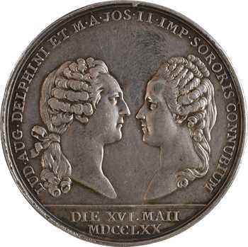 Louis XV, mariage du Dauphin Louis (XVI) et de Marie-Antoinette, détournée en médaille de mariage, 1770 Paris