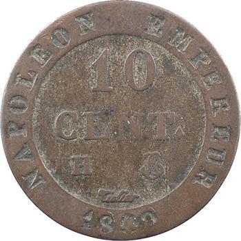 Premier Empire, 10 centimes à l'N couronnée, 1809 La Rochelle, lettre d'atelier à gauche