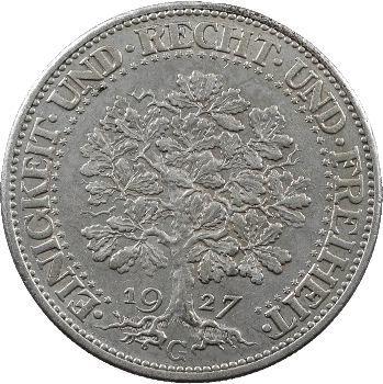 Allemagne (Empire d'), 5 reichsmark, 1927 Karlsruhe