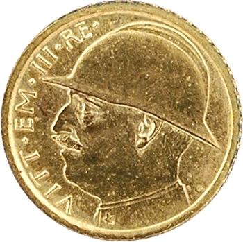 Italie, Victor-Emmanuel III, réduction en or de la 100 lire, 1927 Rome