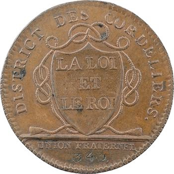 Paris, Constitution, jeton du district des Cordeliers (N° 342), 1790