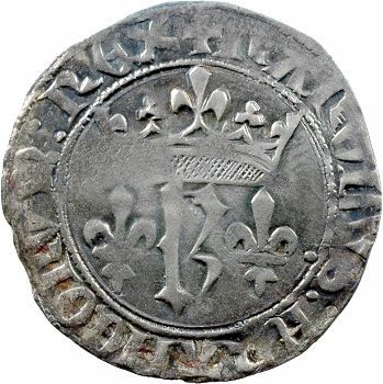 Charles VII, blanc au K dit des gens d'armes, 1re émission, Angers