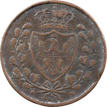 Italie, Savoie-Sardaigne, Charles-Félix, 5 centesimi, 1826 Turin