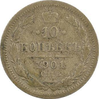 Russie, Nicolas II, 10 kopecks, 1901 Saint-Pétersbourg