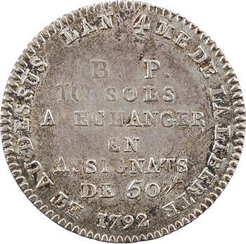 Constitution, Bon pour 10 sols Lefèvre et Lesage, An 4, 1792 Paris
