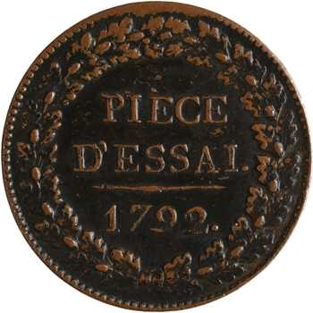 Convention, essai au module d'un sol (12 deniers), 1792 Paris, variété poids lourd