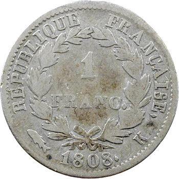 Premier Empire, 1 franc République, 1808 Bordeaux
