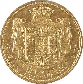 Danemark, Frédéric VIII, 20 kroner ou couronnes, 1908 Copenhague
