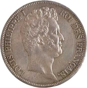 Louis-Philippe Ier, 5 francs Tiolier avec le I, tranche en relief, 1831 Lille