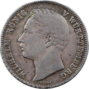 Allemagne, Wurtemberg (royaume de), Guillaume Ier, 1/2 florin, 1844 Stuttgart